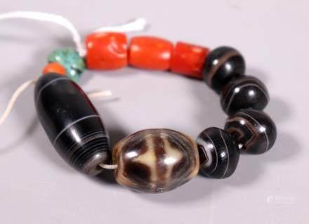 Tibetan Bracelet; 2 Dzi, 4 Agate, 4 Coral Beads