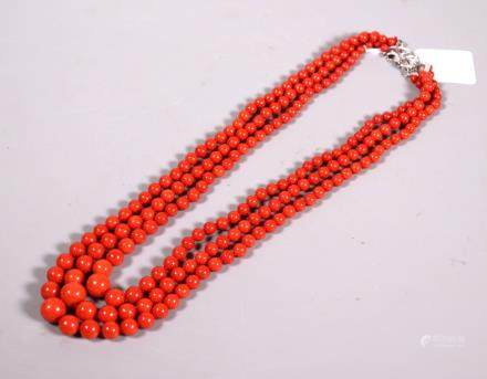 Good 3 Strand Dark Red Coral Bead Necklace; 127.5G