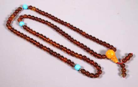 Chinese Amber 108 Bead Buddhist Rosary 80G