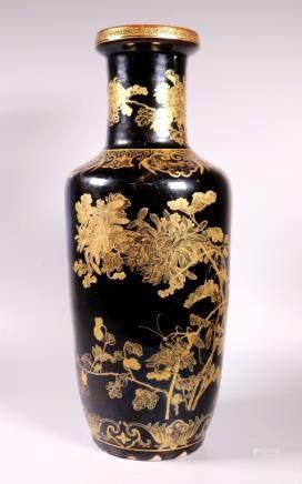 Chinese 19 C Gilt & Mirror-Black Porcelain Vase