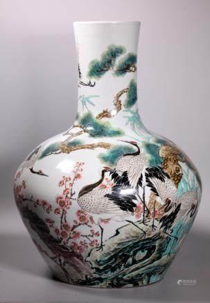X-Lg Chinese Fencai Artist Porcelain Cranes Vase