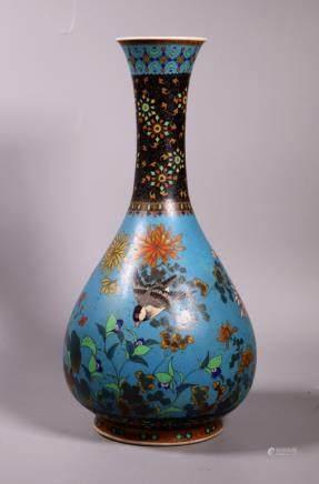 Rare Japanese Cloisonne over Porcelain Large Vase