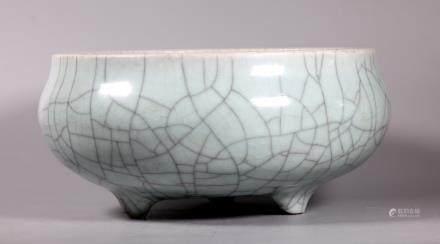 Lg Chinese 19 C Guanyao Crackle Porcelain Censer