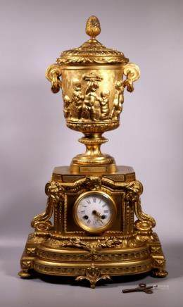 French 19 C Gilt Bronze Chiming Mantle Clock