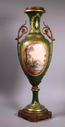 German or Viennese Bronze Mounted Porcelain Urn