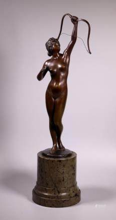 Fleming; Bronze Female Nude on Marble Column