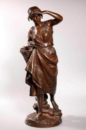 E Laurent; la Pecheuse Patinated Bronze Sculpture