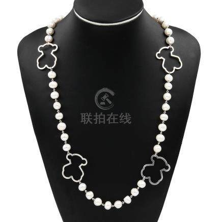 Collar realizado en plata de ley estilo Tous con perlas fres