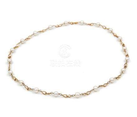 Pulsera de oro amarillo con perlas cultivadas Akoya de 4 mm
