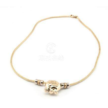 Cordón de oro amarillo con Colgante diseño de elefante (amul