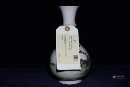 A FAMILLE ROSE BOTTLE VASE, QIANLONG MARK