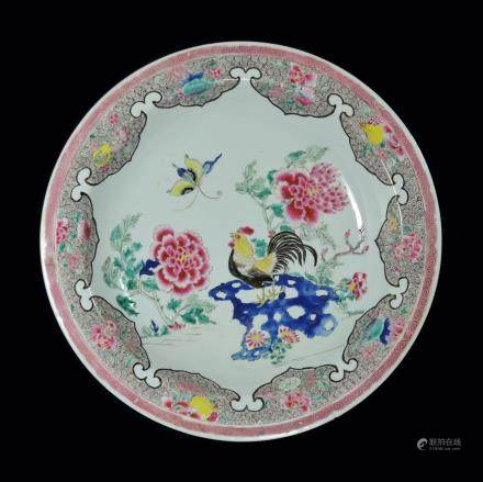 A FAMILLE ROSE `COCKEREL` DISH