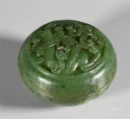 CHINESE SPINACH JADE INK PASTE BOX AND COVER