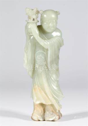 CHINESE PALE CELADON JADE FIGURE OF BOY