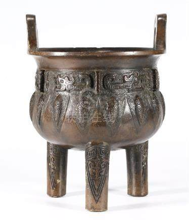 "CHINESE BRONZE ""TAOTIE"" DING VESSEL"