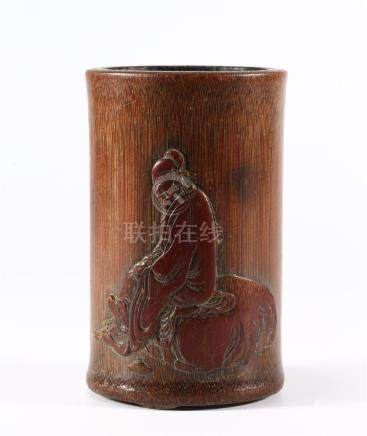 CHINESE BAMBOO INSCRIBED BRUSH POT