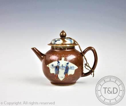 A Chinese 18th century porcelain cafe au lait teapot,