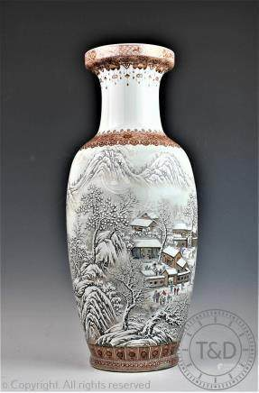 A large Chinese porcelain winter scene vase, 20th century,