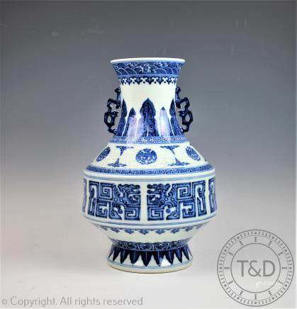 A Chinese blue and white porcelain vase, Qianlong seal mark,