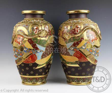 A pair of Japanese satsuma vases, 20th century,