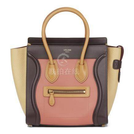 Céline Terracotta Smooth & Elephant Calfskin Leather Micro Luggage Tote
