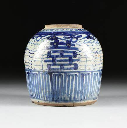 A CHINESE EXPORT BLUE AND WHITE PORCELAIN GINGER JAR, ATTRIBUTED TO THE XIANFENG PERIOD (1851-1861),