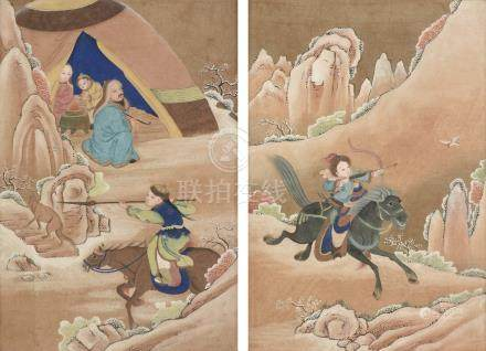"ATTRIBUTED TO THE QING DYNASTY (1644-1912) A PAIR OF CHINESE PAINTINGS, ""Scenes of Mongolian"