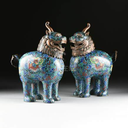 A PAIR OF ENAMEL CLOISONNÉ INCENSE BURNERS, COPPER PATINATED BRONZE QILIN FORM, CHINESE REPUBLIC (