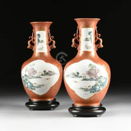 A PAIR OF CHINESE PARCEL GILT BURNT ORANGE GROUND VASES, T'UNG CHIH PERIOD, CIRCA 1880, each of