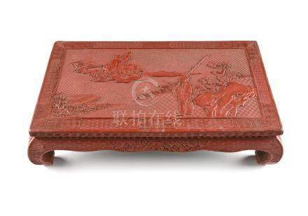 A QING DYNASTY (1644-1912) STYLE RED LACQUER CINNABAR STAND WITH GODDESS MAZU, CHINESE, CIRCA