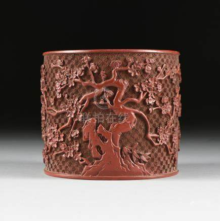 A QING DYNASTY (1644-1912) RED LACQUER CINNABAR BITONG BRUSH POT, 19TH CENTURY, of cylindrical form,