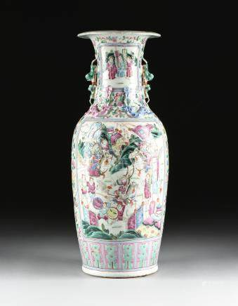 A CHINESE FAMILLE ROSE PARCEL GILT PORCELAIN BALUSTER VASE, LATE QING DYNASTY (1644-1912), including