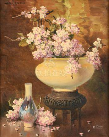 "AUBREY DALE GREER (American/Texas 1904-1998) A PAINTING, ""Nature Morte with Hydrangea in Bowl on"