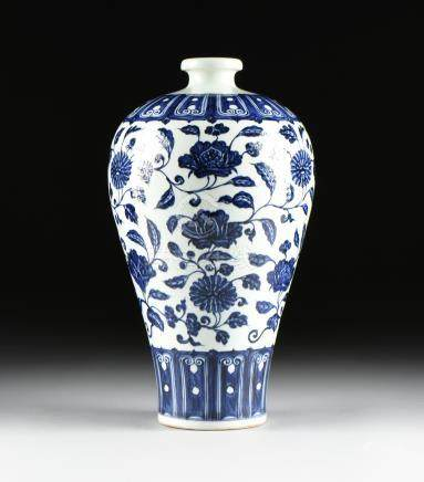 A YUAN DYNASTY (1279-1368) STYLE BLUE AND WHITE GLAZED PORCELAIN MEIPING PLUM VASE, CHINESE,
