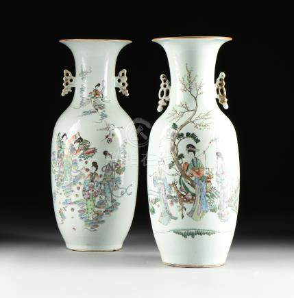 A MATCHED PAIR OF FAMILLE ROSE LITERATI QIANJIANG STYLE PARCEL GILT ENAMELED FIGURAL BALUSTER VASES,