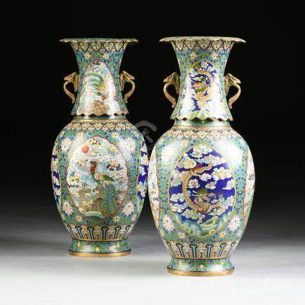 A PAIR OF VASES, MING DYNASTY (1368-1644) STYLE CLOISONNÉ INLAID GILT BRONZE MOUNTED DRAGON AND