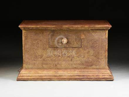 A SOUTH EAST ASIAN GILT ORANGE AND RED LACQUER TEAK SADAIK SCROLL OR DOCUMENT MONASTERY CHEST,
