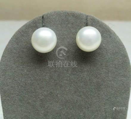 """Paire de boucles d'oreilles en perles de culture naturelles forme """"bouton"""" mont"""