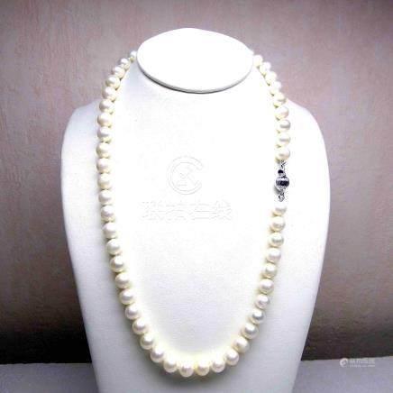 Collier de perles de culture naturelles (D: 7 - 7,5 mm)  fermoir argent (un nœu