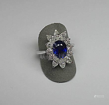 Bague centrée d'un saphir de Ceylan NATUREL de très belle couleur au bleu très
