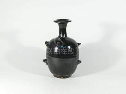宋代-磁州窯系黑釉四繫穿帶瓶