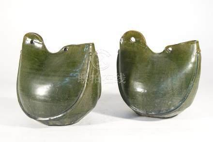遼代-缸瓦窯綠釉皮囊壺一對