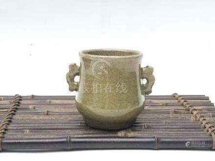 元代-龍泉米黃釉雙魚耳高筒爐