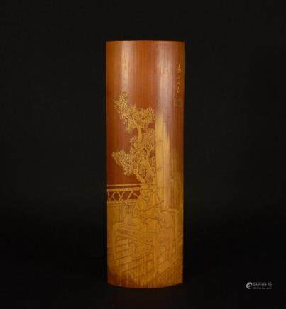 19th Century skin-carved BAMBOO figure wrist rest ORNAMENT
