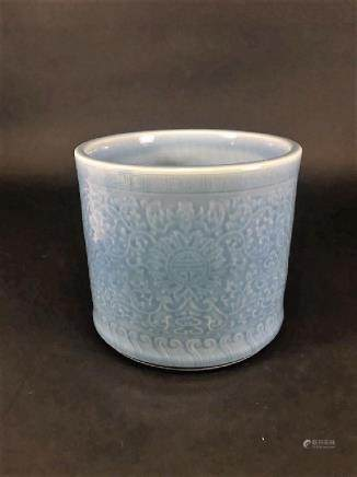 QIANLONG MARK, Blue glazed LOTUS BRUSHPOT