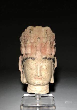 An exceptional Carved Stone Guanyin Head with plastic stand