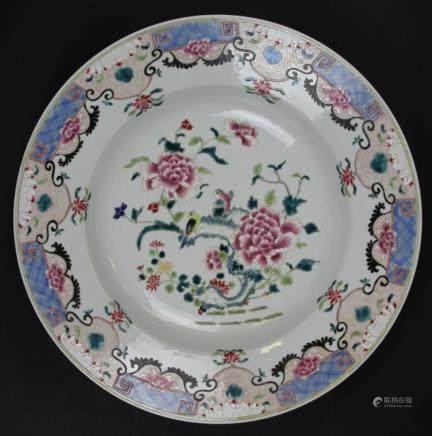 Famille Rose charger decorated with birds, roses, and fine scrolls