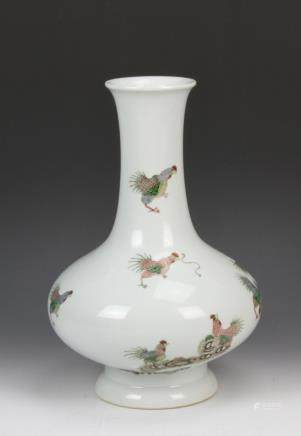 19th C., Famille Rose vase, with a flared rim and footed base, with various chickens