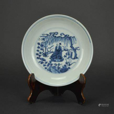 CHINESE BLUE WHITE PORCELAIN PLATE