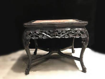 19th.C Chinese Wood Stand w Marble top